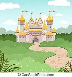 styl, fairytale, ilustracja, castle., kaprys, wektor, rysunek, krajobraz