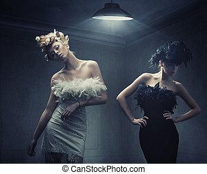 styl, fason, fotografia, dwa, damski, moda