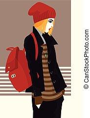 styl, fason, kobieta, ilustracja, wektor, hukiem, art.