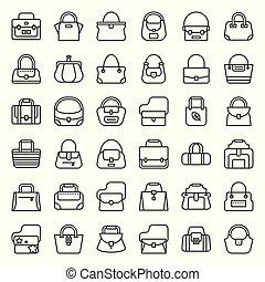styl, fason, szkic, tote, sportowy, boho, 1, torba, komplet, różny, taki, baryłka, torba, ikona