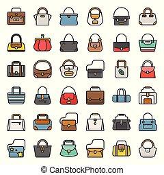 styl, fason, szkic, tote, sportowy, boho, 1, torba, komplet, różny, wypełniony, taki, baryłka, torba, ikona
