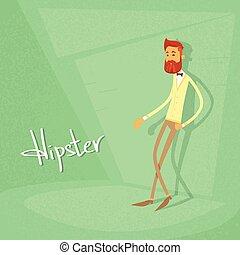 styl, fason, zielony, retro, hipster, facet, rysunek, człowiek