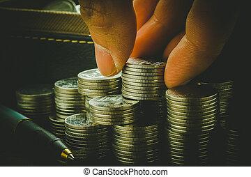 styl, filtr, pieniądze, retro, thai, monety, pojęcie, rocznik wina, ręka, skutek, baht