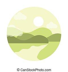 styl, góry, słońce, rzeka krajobraz, ikona, płaski, natura
