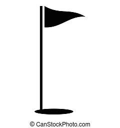 styl, golf, prosty, bieg, bandery, ikona