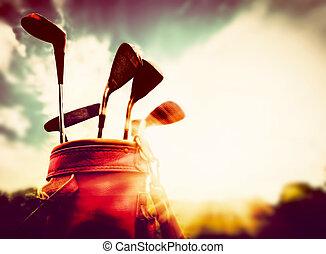 styl, golf, skóra, rocznik wina, bagaż, kluby, zachód słońca, retro