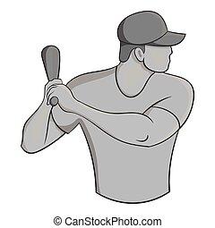 styl, gracz, czarnoskóry, monochromia, ikona, baseball