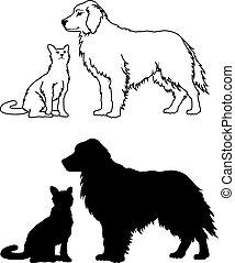 styl, graficzny, pies, kot