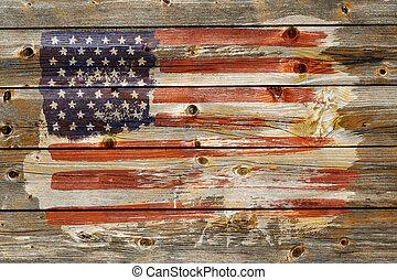 styl, grunge, bandera, amerykanka, tło, stary