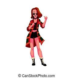 styl, grunge, dyskoteka, retro, partyjna dziewczyna, 1990s, odzież