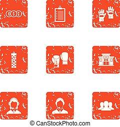 styl, grunge, ikony, komplet, pieniądze, litera
