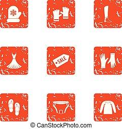 styl, grunge, ikony, komplet, sprzedaż, oczyszczenie