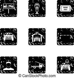 styl, grunge, ikony, komplet, stacja, parking