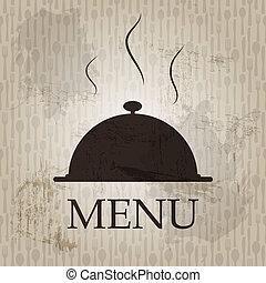 styl, grunge, restauracyjny jadłospis, ilustracja, wektor, retro, szablon