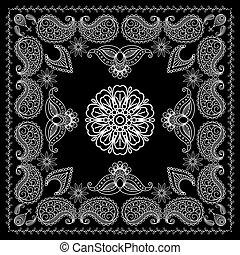 styl, henna, czarnoskóry, druk, biały, bandana
