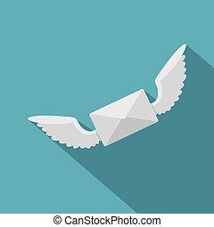 styl, ikona, koperta, biały, skrzydełka, płaski, dwa