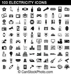 styl, ikony, elektryczność, komplet, 100, prosty