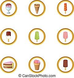 styl, ikony, jadło, zamrażarka, komplet, rysunek
