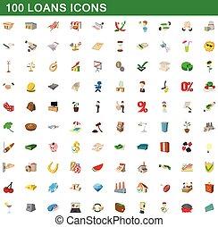 styl, ikony, komplet, 100, pożyczki, rysunek