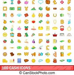 styl, ikony, komplet, gotówka, 100, rysunek