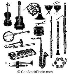 styl, ikony, komplet, instrument, muzyczny, prosty