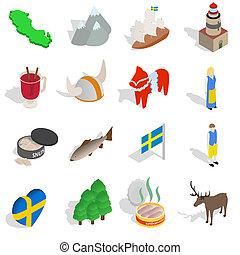 styl, ikony, komplet, isometric, szwecja, 3d