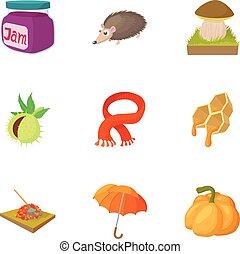 styl, ikony, komplet, jesień, nadchodzący, rysunek