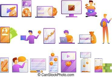 styl, ikony, komplet, monetization, rysunek