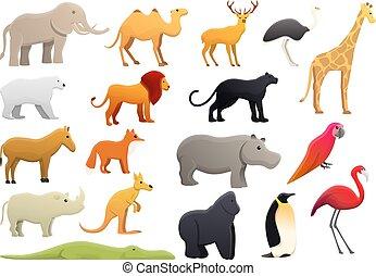 styl, ikony, komplet, park, ogród zoologiczny, rysunek