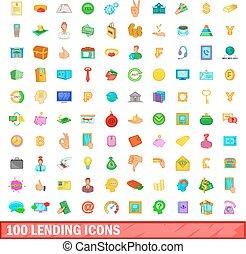 styl, ikony, komplet, pożyczając, 100, rysunek