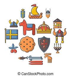 styl, ikony, komplet, podróż, szwecja, rysunek