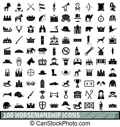 styl, ikony, komplet, prosty, 100, jazda konna