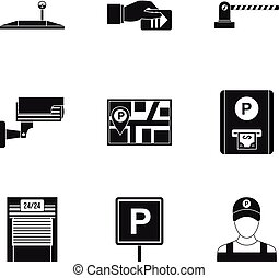styl, ikony, komplet, prosty, stacja, parking