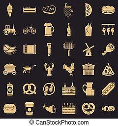 styl, ikony, komplet, smakosz, jadło, prosty