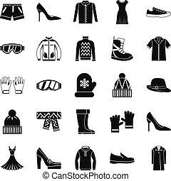 styl, ikony, komplet, sprzedaż, prosty, odzież