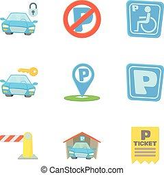 styl, ikony, komplet, stacja, parking, rysunek