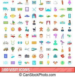 styl, ikony, komplet, wizyta, 100, rysunek