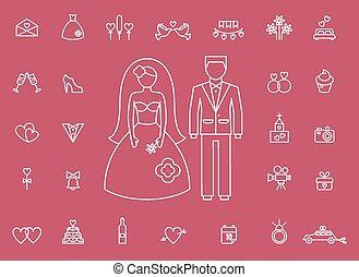 styl, ikony, nowoczesny, małżeństwo, kreska, wesele