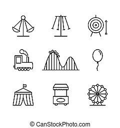 styl, ikony, park, cienka lina, rozrywka