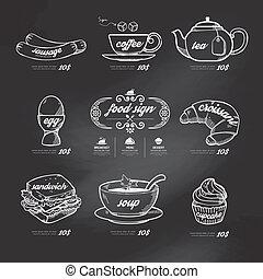 styl, ikony, rocznik wina, chalkboard, tło, menu, pociągnięty, .vector, doodle