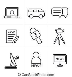 styl, ikony, set., sprawozdawca, nowość, kreska