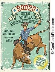 styl, jeżdżenie, retro, rodeo, poster., byk, kowboj