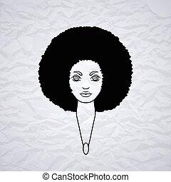 styl, kobieta, mniszek lekarski, włosy, african., portret