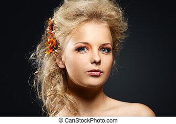 styl, kobieta, piękno, młody, włosy, portret