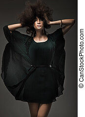 styl, kobieta, strzał, młody, studio, moda