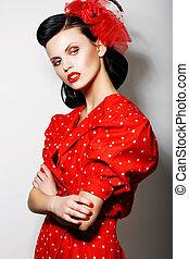 styl, kobieta, szpilka, polka, fashion., -, do góry, ...