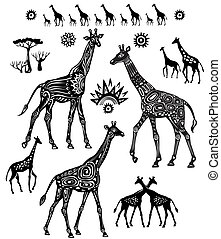 styl, komplet, żyrafy, stylizowany, etniczny, ozdobny