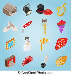 styl, komplet, 3d, isometric, ikony, teatr
