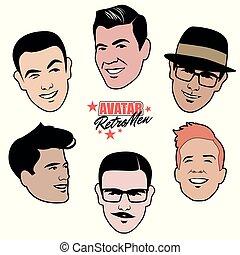 styl, komplet, 50, mężczyźni, sześć, avatars, men., retro,...