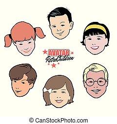 styl, komplet, 50, sześć, avatars, dzieci, retro, children.,...